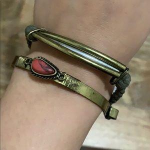 Free People Hand Cuff Bracelet Stone Metal